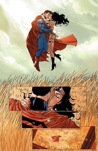 Superman and Wonder Woman kiss in Smallville (Justice League #14)