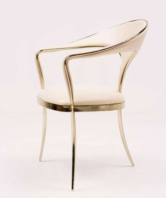 Brass Vidal Grau Cosmos Chairs in Nappa Leather