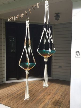 Macrame Plant Hanger 3 strand twisted Cotton natural off white pot holder with black jute or green color block