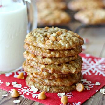 Perfectly chewy cookies filled with old-fashioned rolled oats and creamy butterscotch chips.