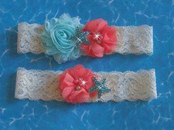 Beach Wedding Garter C And Aqua Set Starfish Toss