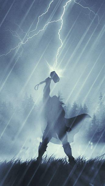 Thor, lighting, god of thunder, art, illustration, 540x960 wallpaper