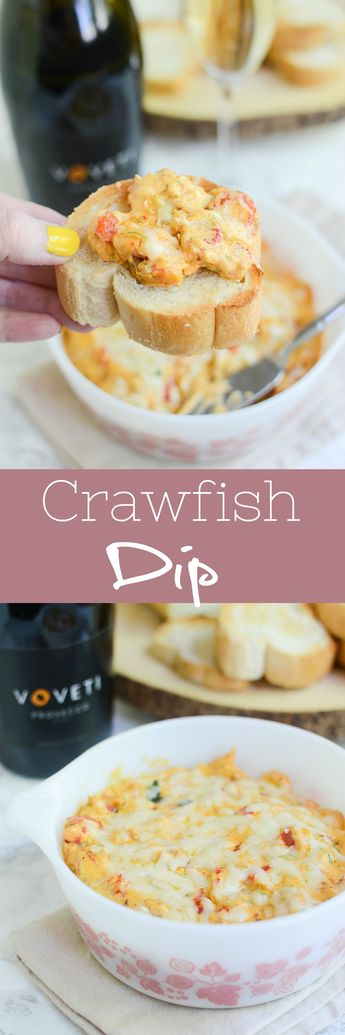 Crawfish Dip - creamy, cheesy crawfish dip with a little spice! Serve this on sliced baguettes at your next party or for a delicious date night at home!