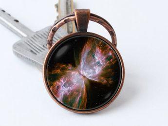 Nebula Butterfly keychain Cosmos keyring Galaxy key ring Girlfriend gift Nebula key chain Nebula pen