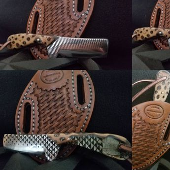 Bull cutter/ castration knife made from a farrier's rasp wi