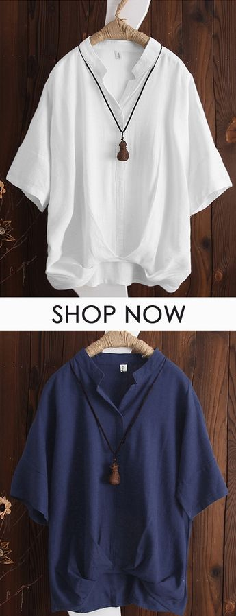 Vintage V Neck Irregular Shirts for Women