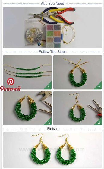 Pendentif cercle vert bricolage #Beebeecraft # boucles d'oreilles avec perles de rocailles
