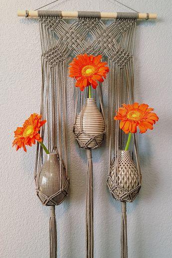 """40"""" Large Triple Flower Vase Grey Wall Hanging//Gray Boho Modern Macrame (Maisie)"""