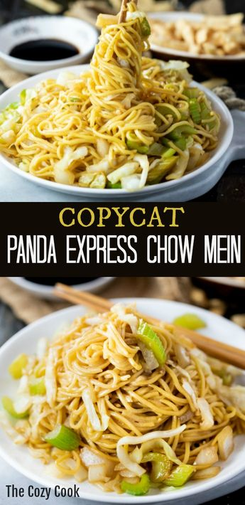 This Copycat Panda Express Chow Mein tastes just like the restaurant version and is quick and easy to make right at home. In just 20 minutes you can enjoy this restaurant classic. Add seared shrimp, chicken, or beef to make it a protein-packed meal! | The Cozy Cook | #chowmein #copycat #pandaexpress #meatless #sidedish #chinesefood #restaurantcopycat #chinese #comfortfood #dinner #noodles