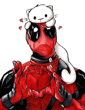"Deadpool Kitty Art Print 8.5x11"" Cat Marvel Comic Art for Nerds and Geeks"