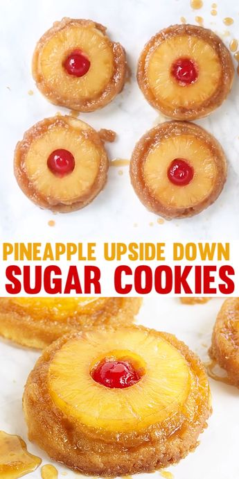 Pineapple Upside Down Cookies - Pineapple upside down cake in cookie form because everyone loves cookies! Soft sugar cookie bottoms with a ring of pineapple and cherry center all covered in a brown sugar glaze! #cookiedoughandovenmitt #cookies #pineapple #dessertfoodrecipes #dessertrecipes #sugarcookies #summerdesserts