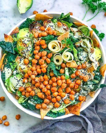 Kale and Roasted Chickpea Caesar Salad #feedfeed #recipe #recipes #entertaining #breakfast #easyrecipes #homecook #salad #salads #dinnersalad #Caesarsalad