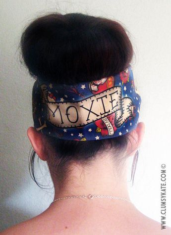 Roller Derby Name Custom Tattoo Print Head Scarf by by ClumsyKate, £10.00   - Rosie .......... LOVE the nickname MOXIE!!! ....