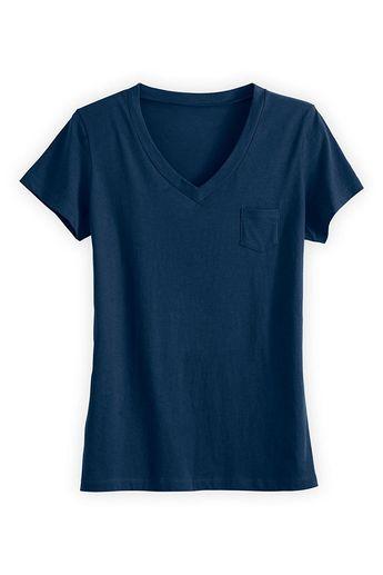 Fair Trade Organic Relaxed Pocket V-neck Tee - Dark ocean - C612O0RFKTL