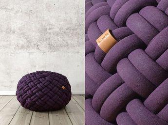 Gevlochten Knotty Poef : Decorative pillows and poufs knotty by kumeko modern furn