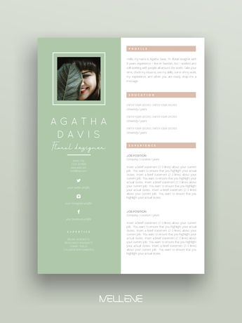 "Resume Template 3 pages / CV Template + Cover Letter / Instant Download for MS Word / ""Agatha"""