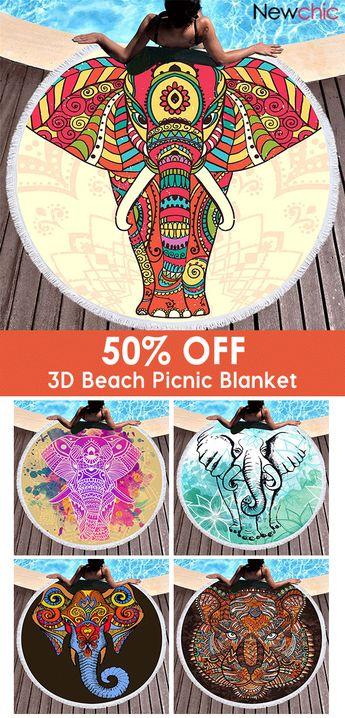 3D Totem Bohemian Mandala Elephant Printing Beach Towels Microfiber Round Shape Picnic Blanket.