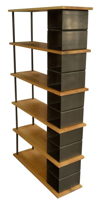 Custom Made Large wood and metal industrial bookshelf by Fabitecture