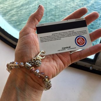 Cruise tip/hack: if lanyards aren't your thing, maybe a DIY custom stretchy beaded bracelet could be. I bought mine at Michael's/Hobby Lobby and attached a large lobster clasp to the bracelet with a mini split ring. Perfect for sail & sign card without looking like a tourist with a Carnival or Norwegian or Disney or Royal Caribbean lanyard.