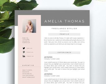 """Resume Template 3 page / CV Template + Cover Letter / Instant Download for MS Word / """"Evelyn"""""""
