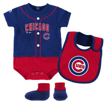 dbb21302 Chicago Cubs Newborn / Infant Tiny Player Bib, Booty & Bodysuit Set by  Majestic
