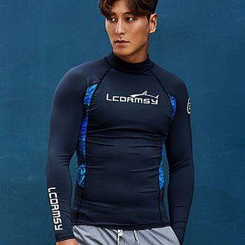 LCDRMSY Men's Rash Guard Swim Shirt UV Sun Protection Quick Dry Long Sleeve Swimming Diving Surfing Painting Summer / Micro-elastic