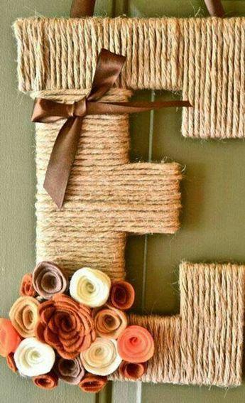 Twine burlap letter door hanger