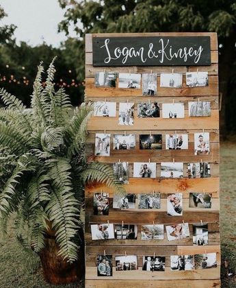 Engagement party photo display. DIY project. Engagement party ideas. Romantic engagement party ideas.