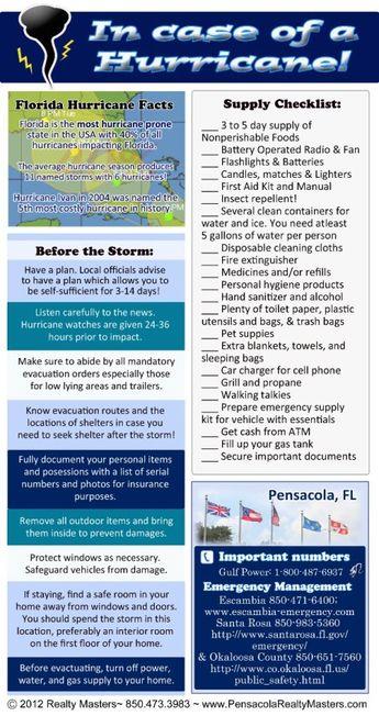 Love to Live in Pensacola, Florida~: Hurricane Preparedness Graphic