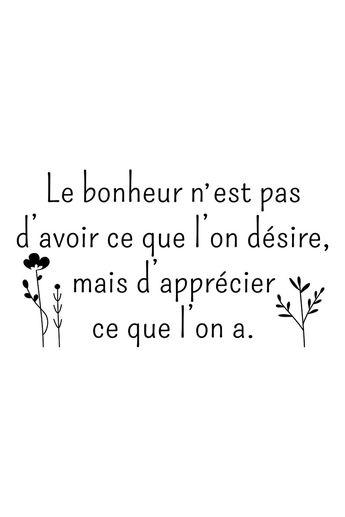 Vente STICKERS / 24345 / Lettrage / Citations en français / Sticker citation Le bonheur Noir                                                                                                                                                                                 Plus