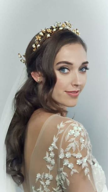 Reign Crown Pearl and golden bud blossoms golden vine flower crown