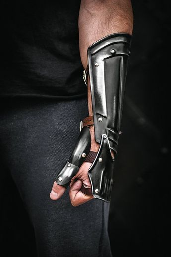 Blackened steel single bracer, Guts cosplay from Berserk anime, larp clothing, anime cosplay, fantasy warrior costume, medieval knight