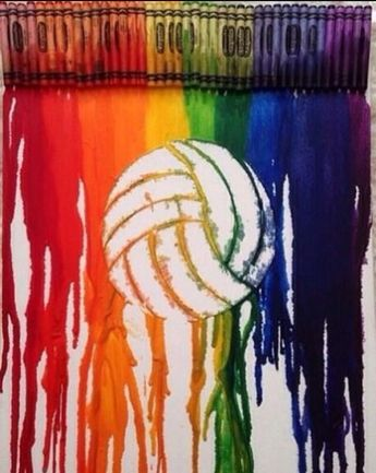 Crayon rainbow volleyball art!!
