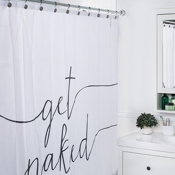 Moda At Home Polyester 'Get Naked' Shower Curtain (Black/White)