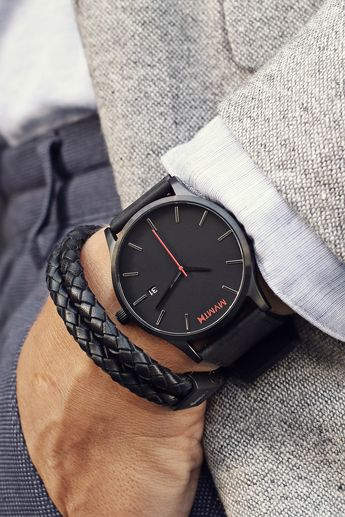 Black Leather Watch   Men's - 45mm   Classic Series