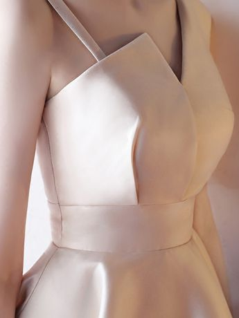 Khaki Asymmetric Neckline Skater Evening Dress