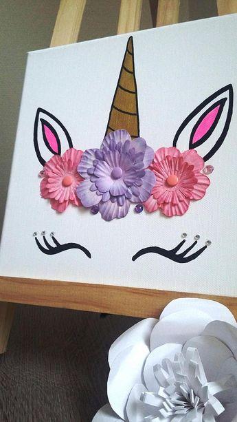 Cadre licorne 3D tête de licorne avec strass Sur une toile en coton 20 x 20 cm avec strass dans les tons or/rose/mauve envoi en lettre suivie