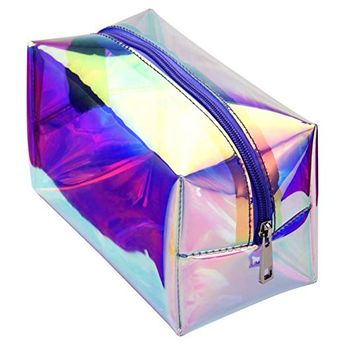 Cambond Holographic Makeup Bag Clear Cosmetic Bag Organizer Large Capacity Iridescent Makeup Pouch Clear Toiletry Pouch Hologram Clutch Cosmetic Pouch for Women Review