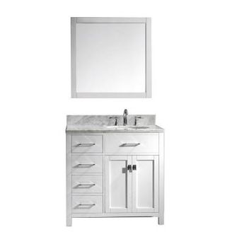 Virtu USA Caroline Parkway 36 in. W Bath Vanity in White with Marble Vanity Top in White with Round Basin and Mirror-MS-2136L-WMRO-WH