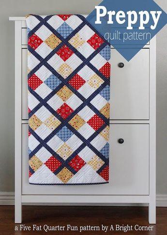 Five Fat Quarter Fun - Preppy Quilt Pattern