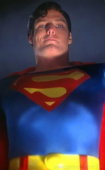 """""""Going down?""""  Christopher Reeve as Superman."""