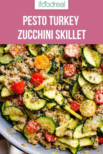 This 30 Minute Healthy Ground Turkey Zucchini Skillet with Pesto is delicious low carb one pot dinner recipe that will become your family's favourite. #ifoodreal #cleaneating #zucchini #dinner #lowcarb #keto #turkey