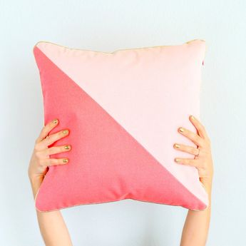 Blush and Coral Color Blocked Throw Pillow