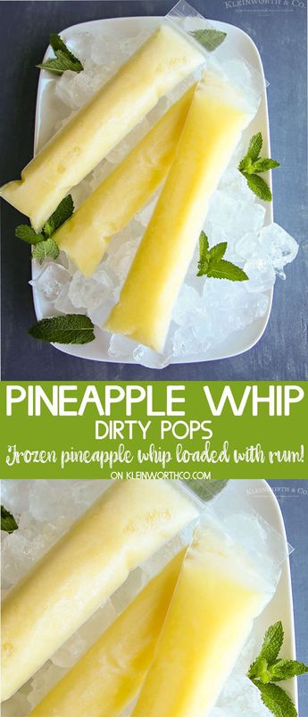If you are a fan of a popular whipped pineapple treat but want a little kick with it, you'll love these Dirty Pineapple Whip Pops. Boozy rum frozen treat! via @KleinworthCo