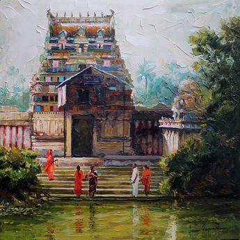 Buy 'Village Temple' a beautiful painting by Indian Artist Iruvan Karunakaran