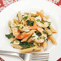 Jodie Boehm's Scrumptious Shrimp and Spinach Pasta #vegetables #grain #myplate