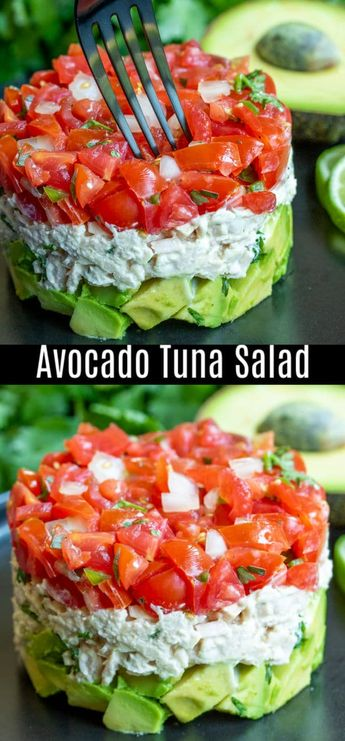 This healthy Avocado Tuna Salad recipe is a keto and low carb lunch or dinner recipe made with creamy tuna and mayonnaise, cilantro, tomatoes, and fresh avocado. It's one of my favorite avocado recipes! Make this simple avocado tuna salad for lunch or dinner this week. #tuna #avocado #ketodiet #keto #lowcarbrecipes #lowcarb #homemadeinterest