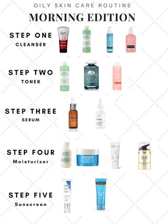 Morning oily skin care routine. Step by step skin care guide with affordable hea