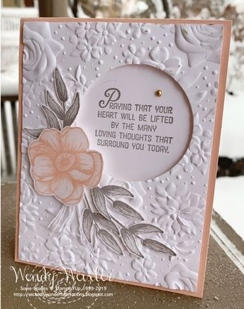 SAB2019 Painted Seasons, Flourishing Phrases; Accessories: Layering Circles Framelits, Country Floral EF, Whisper White Bakers Twine, Metallic Pearls; Paper: Petal Pink, Whisper White; Ink: Petal Pink, Granite Gray
