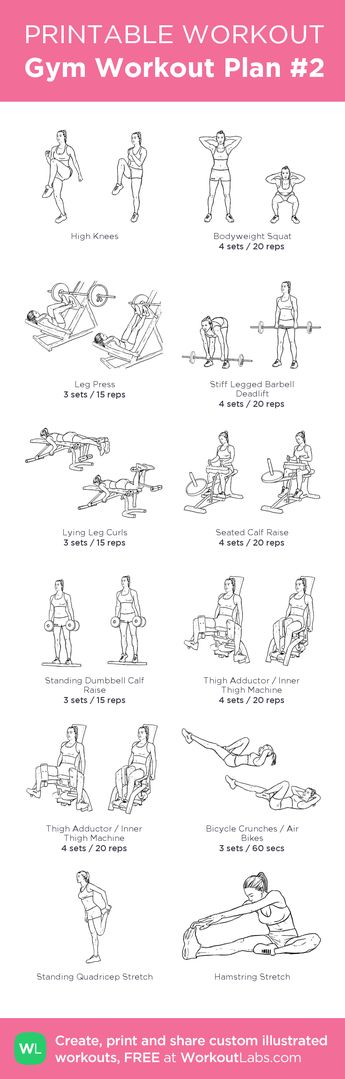 Gym Workout Plan #2: Legs. Instead of high knees do 5' warm up on treadmill, and at the end replace the abs with 10' HIIT on stationary bike followed by 5' low intensity for cool down before stretching. my custom printable workout by @WorkoutLabs #workoutlabs #customworkout